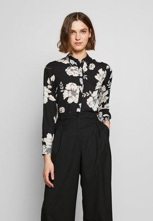 LONG LINE SHIRT - Button-down blouse - black