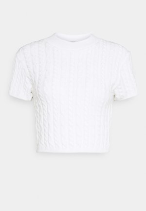 CROPPED TOP WITH HIGH ROUND NECK AND SHORT SLEEVES - Jumper - white