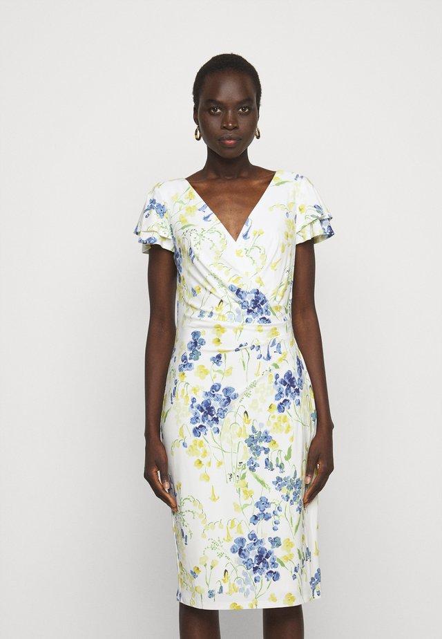 PRINTED MATTE DRESS - Pouzdrové šaty - cream/yellow