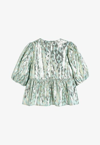 MINT PUFF SLEEVE ANIMAL BLOUSE WITH SILK (3-16YRS)