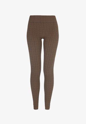 HERRINGBONE SEAMLESS - Legging - black/camel