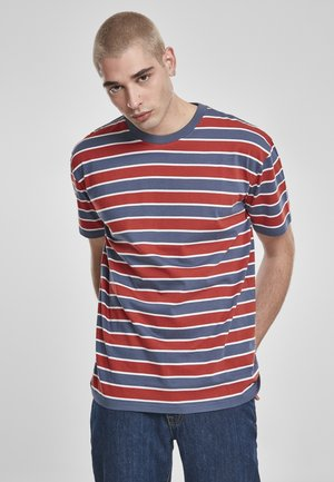 YARN DYED BOARD STRIPE - Basic T-shirt - burnedred/vintageblue