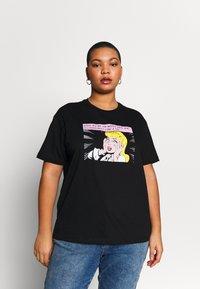 Even&Odd Curvy - T-Shirt print - black/white/beige - 0