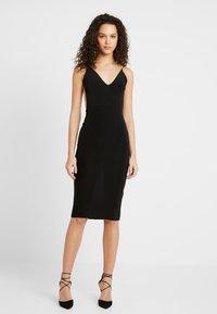 Club L London - RUCHED MIDI DRESS - Shift dress - black - 2