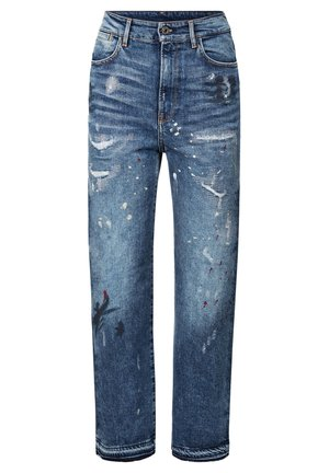 TEDIE ULTRA HIGH STRAIGHT RIPPED ANKLE - Straight leg jeans - sun faded prussian blue painted