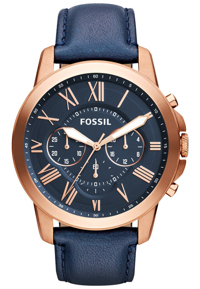 Chronograph watch - blue/rose gold