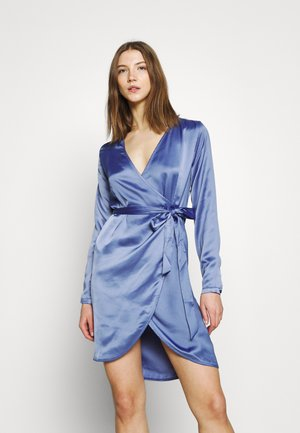 WRAP BALLOON SLEEVE MINI DRESS - Sukienka koktajlowa - blue