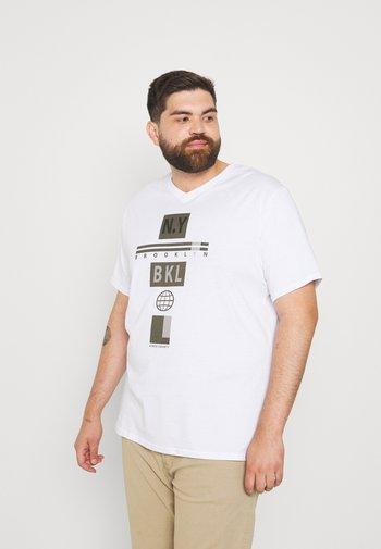 GRAPHIC V NECK TEE - Print T-shirt - white