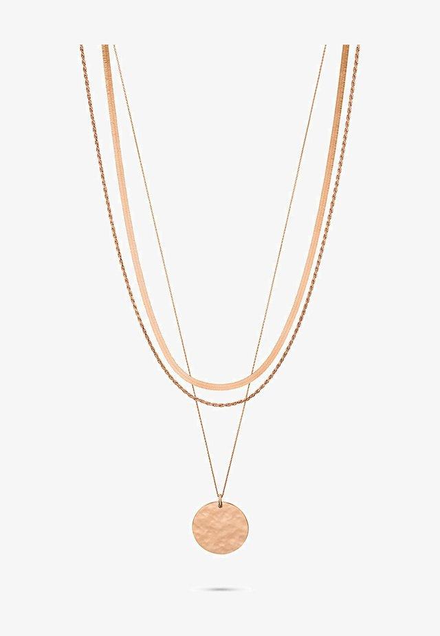 Necklace - rosé gold coloured