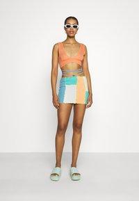Jaded London - PANELLED MINI SKIRT WITH KNICKER DETAIL  - Mini skirt - blue/ green/ orange - 1