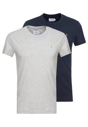 FARRIS TWIN 2 PACK - Basic T-shirt - grey marl/true navy