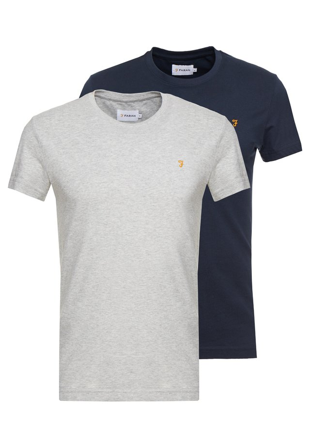 FARRIS TWIN 2 PACK - T-paita - grey marl/true navy