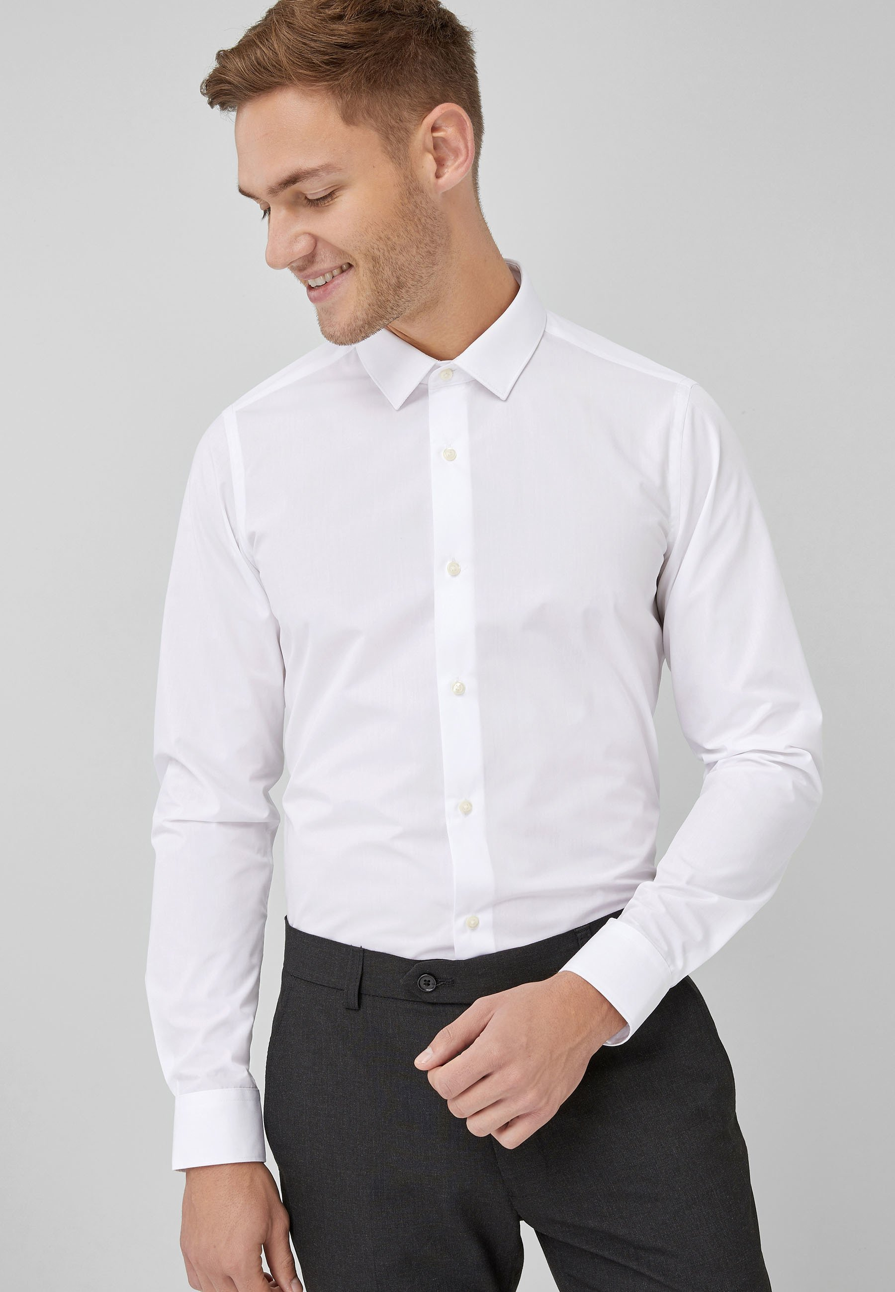 Homme WHITE SKINNY FIT SINGLE CUFF EASY CARE SHIRT - Chemise