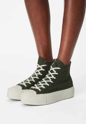 CHUCK TAYLOR ALL STAR MIX RECYCLED PLATFORM - Sneaker high - cargo khaki/egret