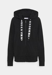 DKNY - TWO TONE LOGO ZIP FRONT - Zip-up sweatshirt - black - 4