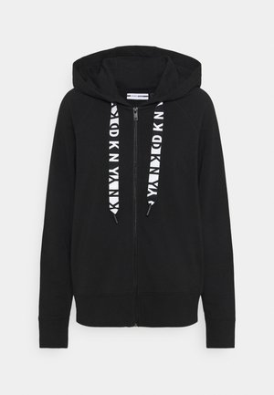 TWO TONE LOGO ZIP FRONT - Zip-up hoodie - black