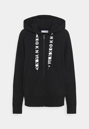 TWO TONE LOGO ZIP FRONT - Zip-up hoodie - black