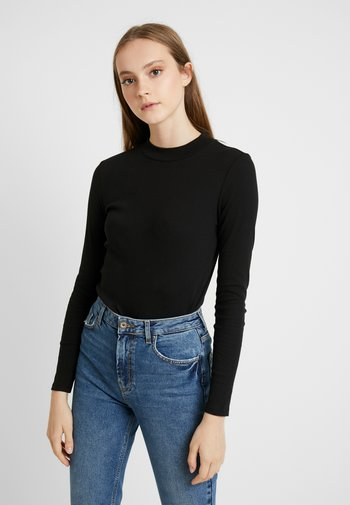 SAMINA - Long sleeved top - black dark