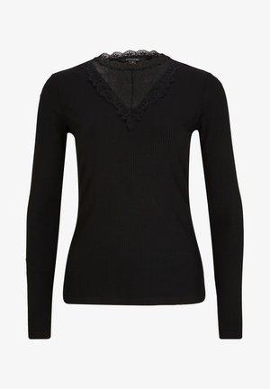 MIT SPITZEN-BLENDE - Long sleeved top - black