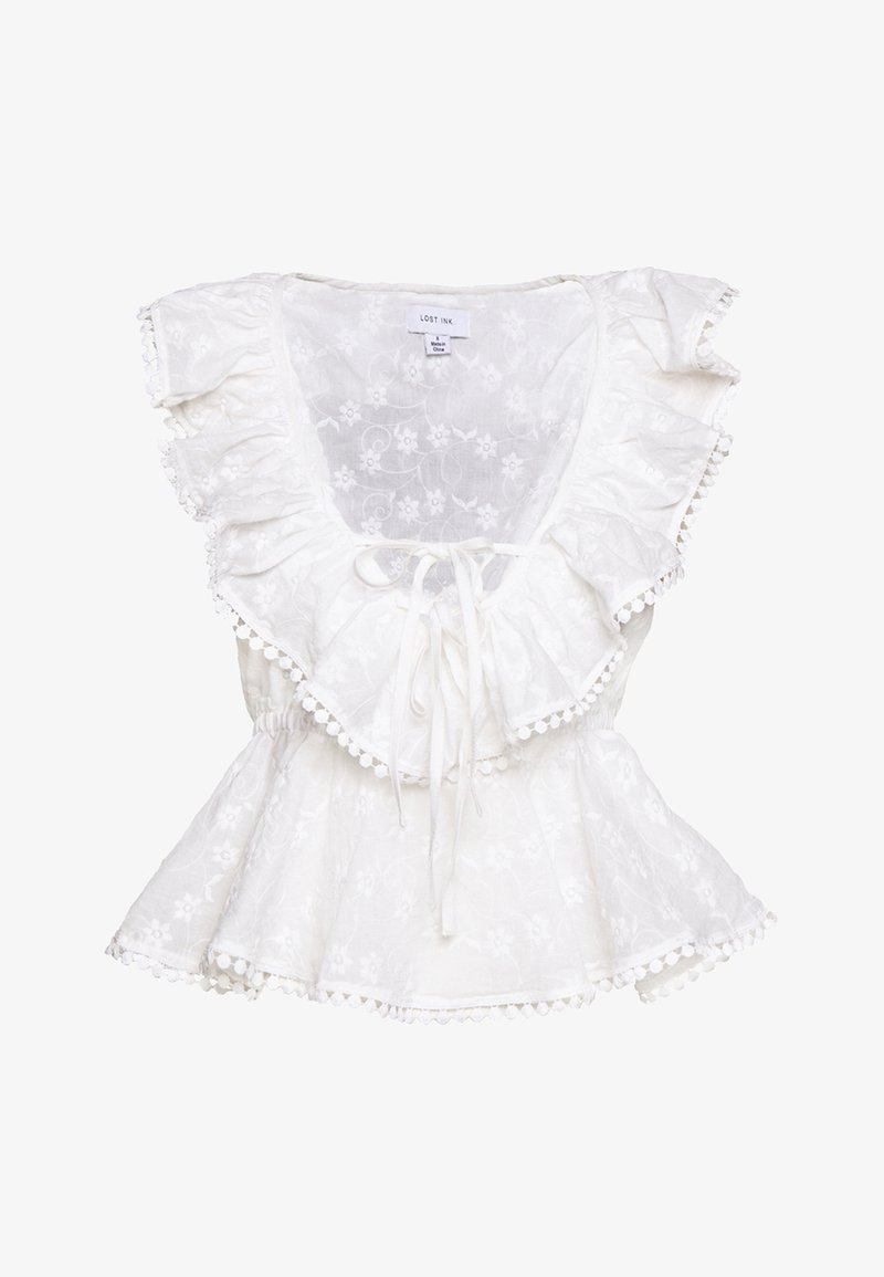 Lost Ink - RUFFLE  FRONT TOP - Bluse - white