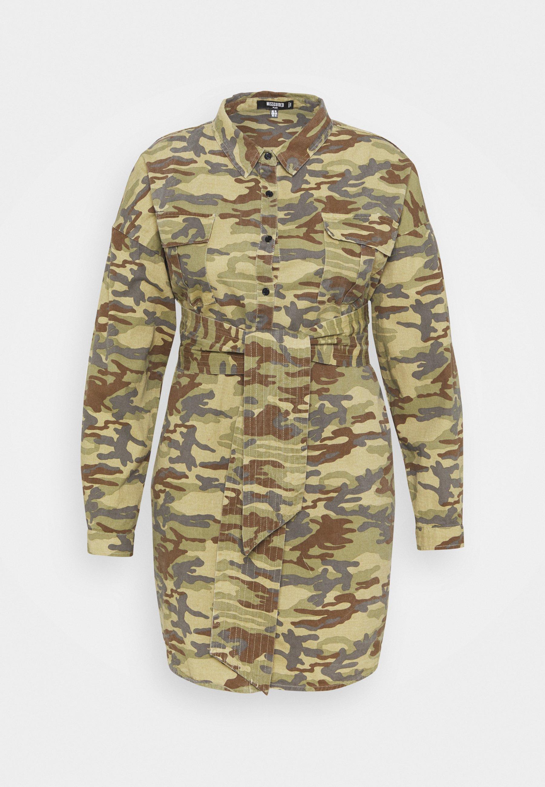 Women CAMO PRINT TIE WAIST DRESS - Shirt dress