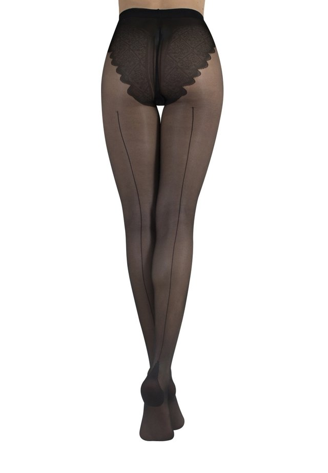 WITH CUBAN HEEL AND BIKINI BRIEF - 20 DEN - Tights - black