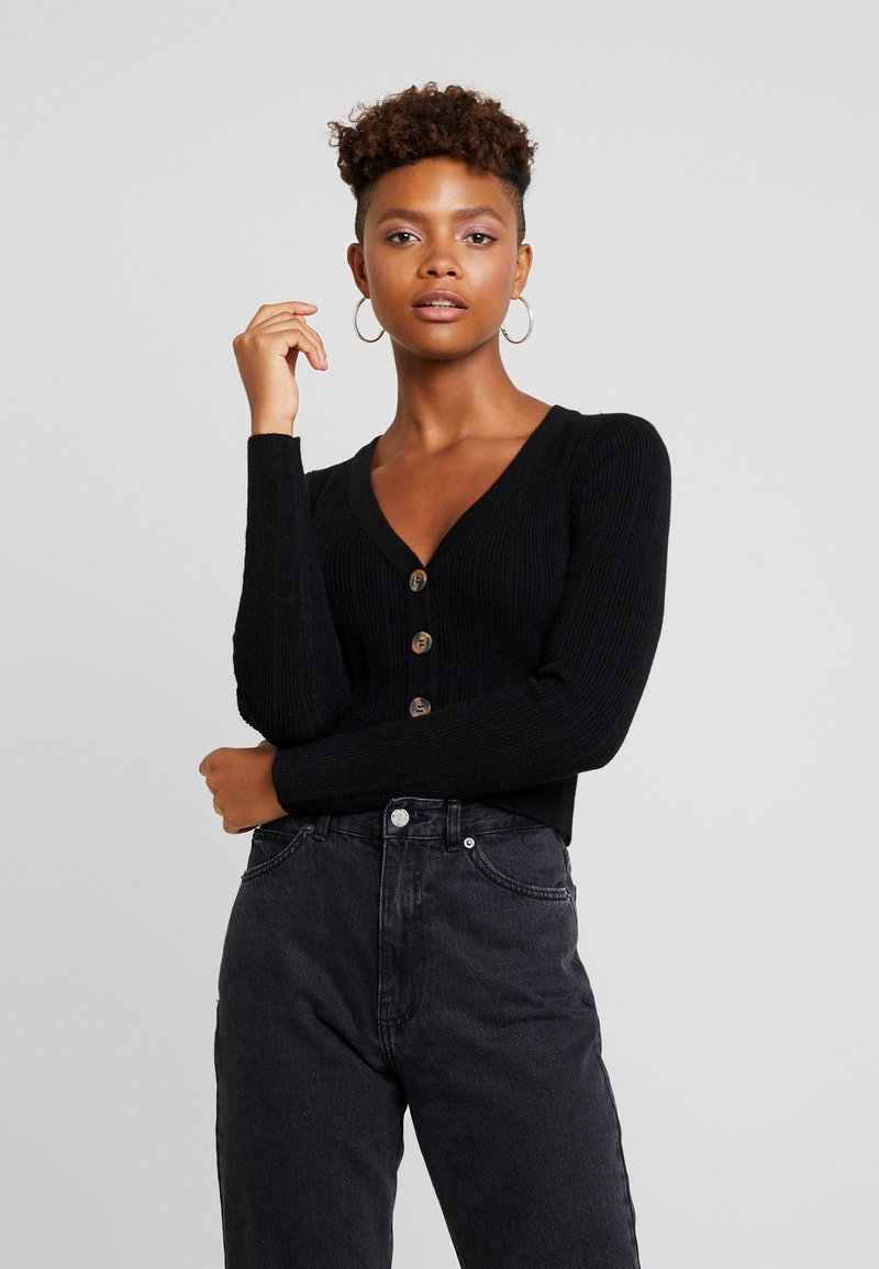 Nly by Nelly - CROPPED CARDIGAN - Cardigan - black