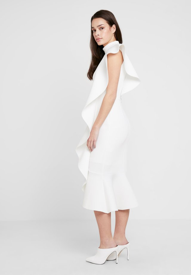 EXTREME FRILL PEPLUM HEM DRESS - Occasion wear - white