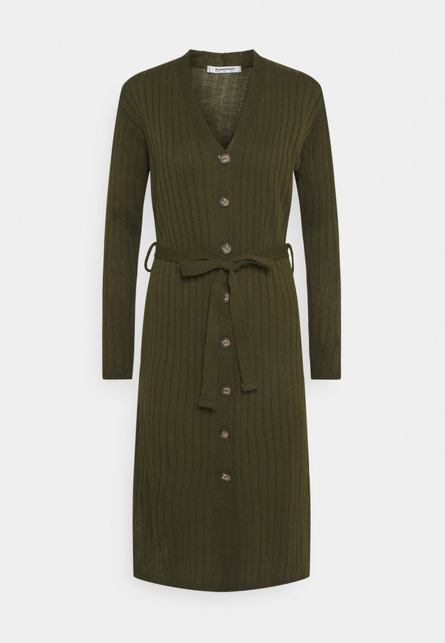 BUTTON THROUGH DRESS  - Pletené šaty - khaki