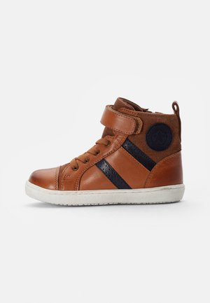 LEATHER BOOTIES - High-top trainers - cognac