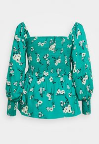 Simply Be - SQUARE NECK SHIRRED PEPLUM - Camicetta - green - 1