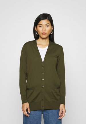 LONG BUTTON UP CARDIGAN - Vest - dark olive