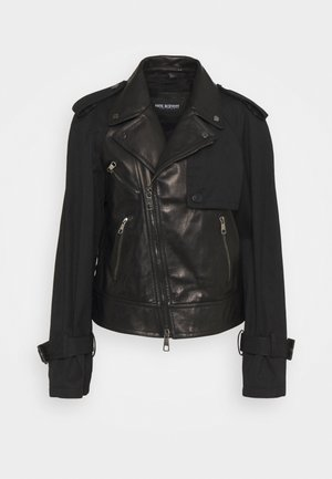 HYBRID BIKER - Leather jacket - black