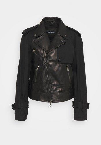 HYBRID BIKER - Kožená bunda - black