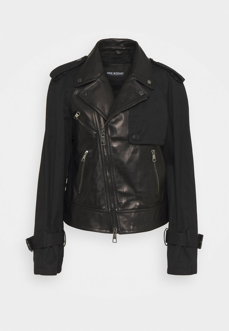 Neil Barrett - HYBRID BIKER - Kožená bunda - black