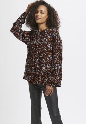 Button-down blouse - black, orange flower