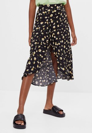 ROCK MIT BLUMENPRINT UND VOLANTS - A-line skirt - black