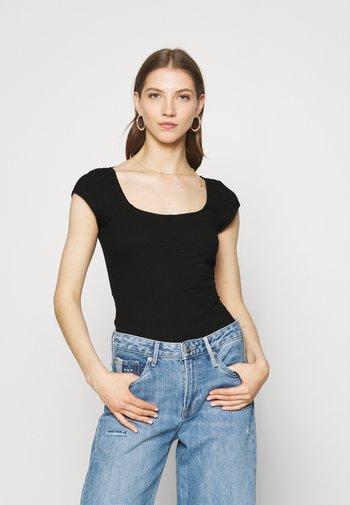TIE BACK DETAIL - Print T-shirt - black