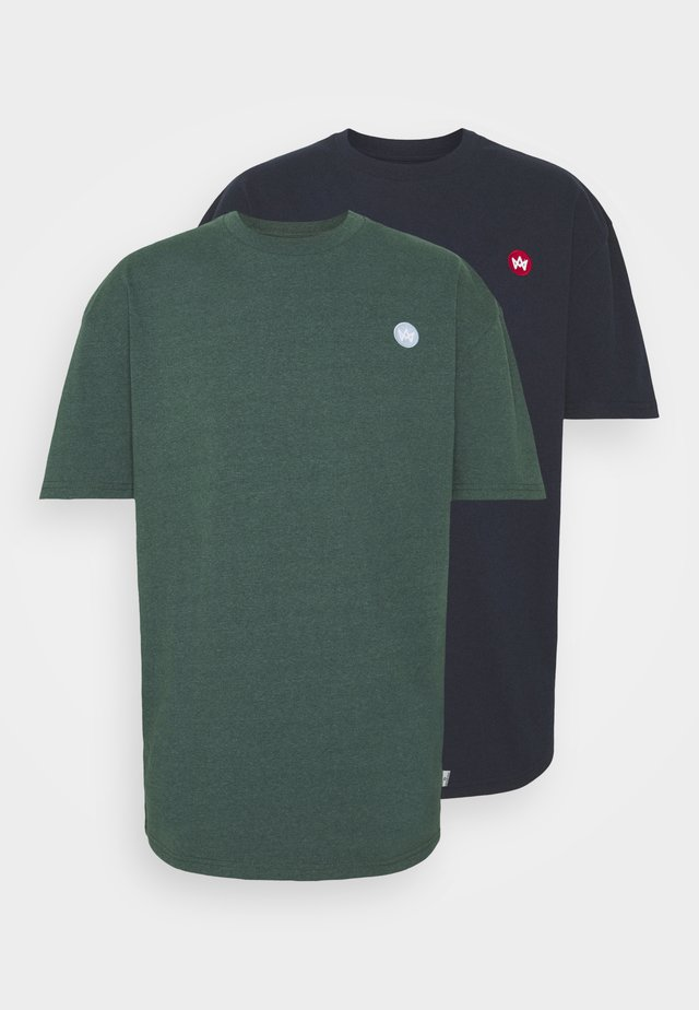 MARTIN RECYCLED 2 PACK - T-shirt basic - navy/olive