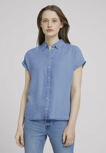 LIGHT DENIM SHORTSLEEVE - Print T-shirt - used light stone blue denim