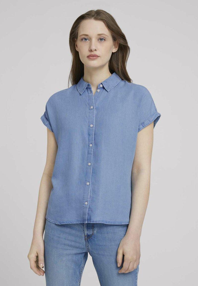 TOM TAILOR DENIM - LIGHT DENIM SHORTSLEEVE - Print T-shirt - used light stone blue denim