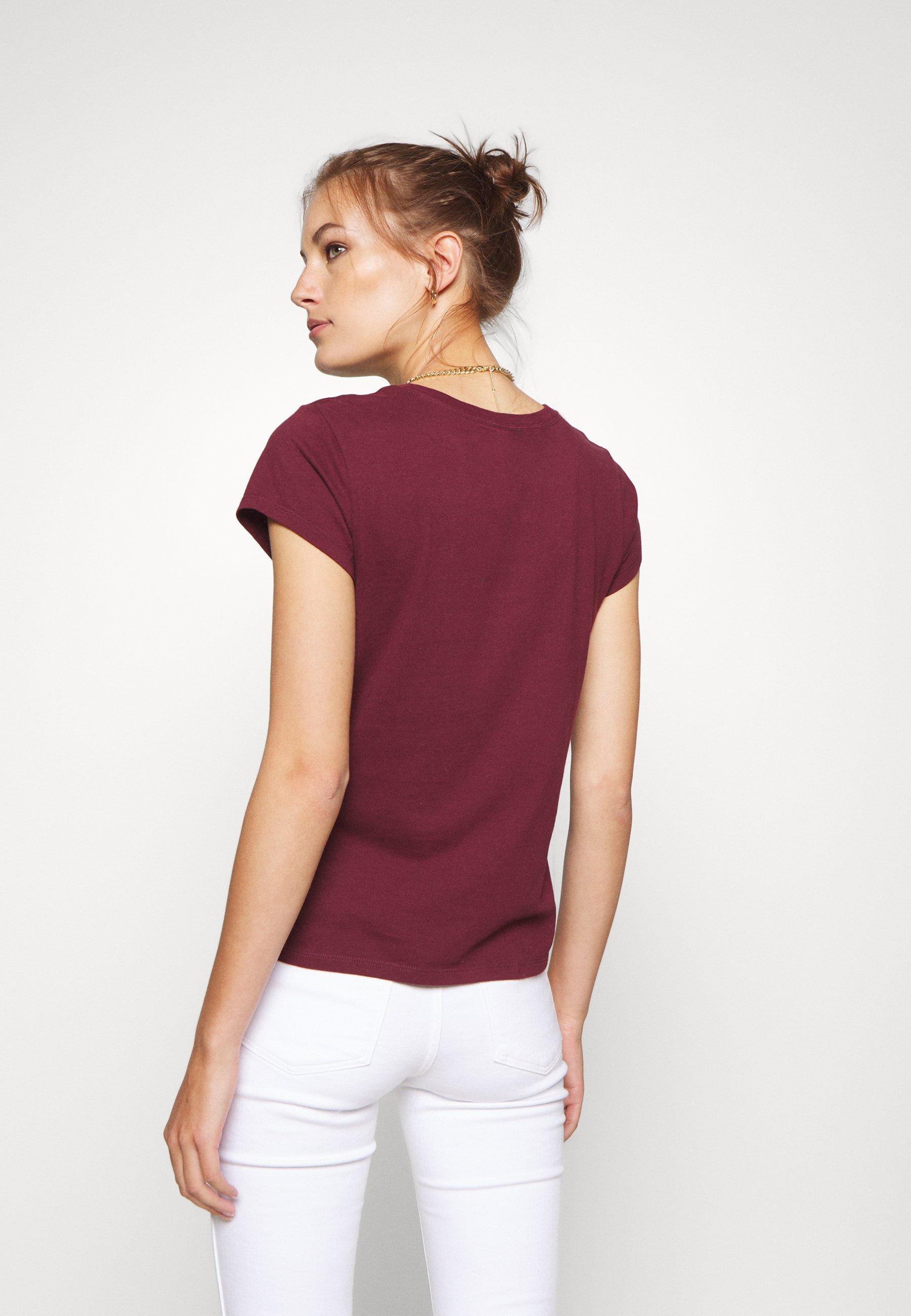 Abercrombie & Fitch LONG LIFE LOGO  - T-shirt con stampa - burg - Abbigliamento da donna Per Nizza