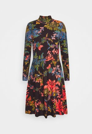 PRINTED DRESS FLORAL PATTERN - Strikkjoler - brown/red