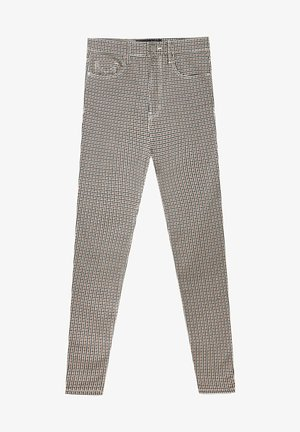 mit superhohem Bund und Print - Pantalon classique - beige