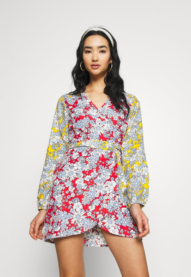 MIXED BALOON WRAP MINI DRESS - Korte jurk - summer retro floral