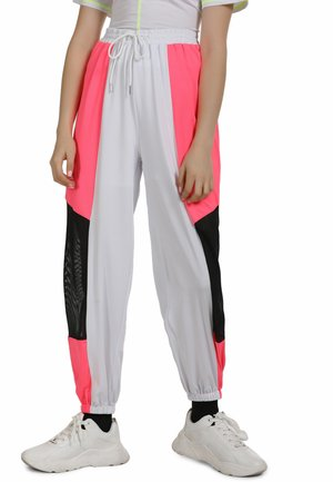 Tracksuit bottoms - neon pink weiss
