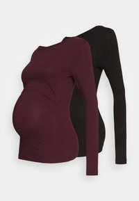 Anna Field MAMA - 2 PACK - NURSING FUNCTION LONG SLEEVE TOP - Top s dlouhým rukávem - black/bordeaux - 0