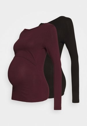 2 PACK - NURSING FUNCTION LONG SLEEVE TOP - Topper langermet - black/bordeaux