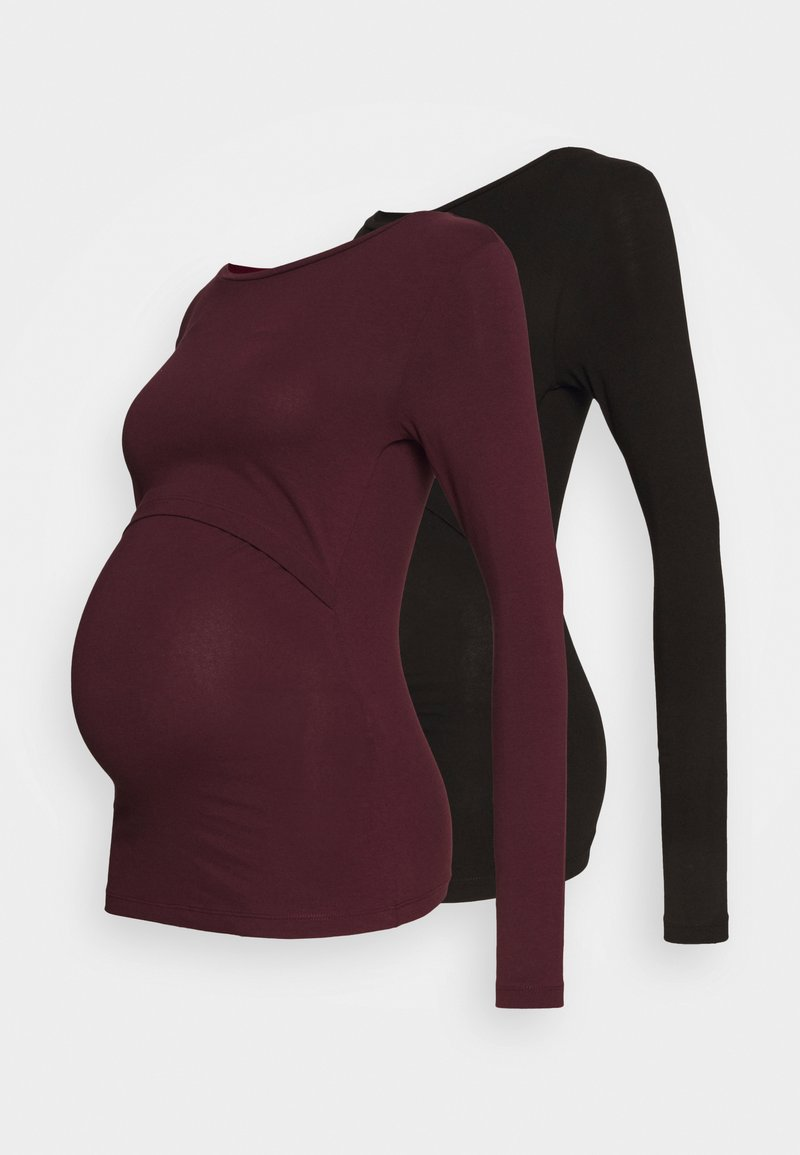 Anna Field MAMA - 2 PACK - NURSING FUNCTION LONG SLEEVE TOP - Topper langermet - black/bordeaux
