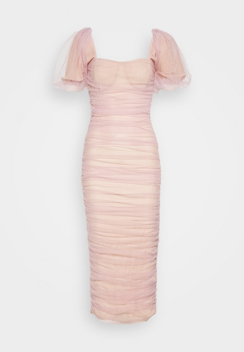 Missguided - RUCHED PUFF SLEEVE MIDI DRESS - Ballkjole - pink